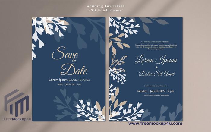 Minimalist Navy and White Color Wedding Invitation