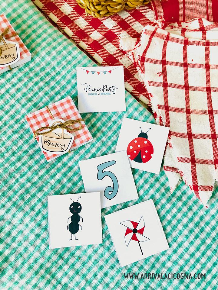 memory game personalizzato a tema picnic