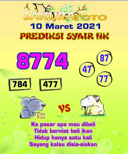 Syair HK Rabu 10 Maret 2021 -