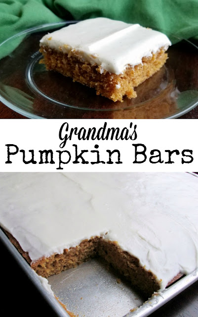 Soft and simple pumpkin cake topped with cream cheese frosting, you may know them as pumpkin bars or pumpkin squares.  Either way, these are the things fall dreams are made of! A perennial family favorite.