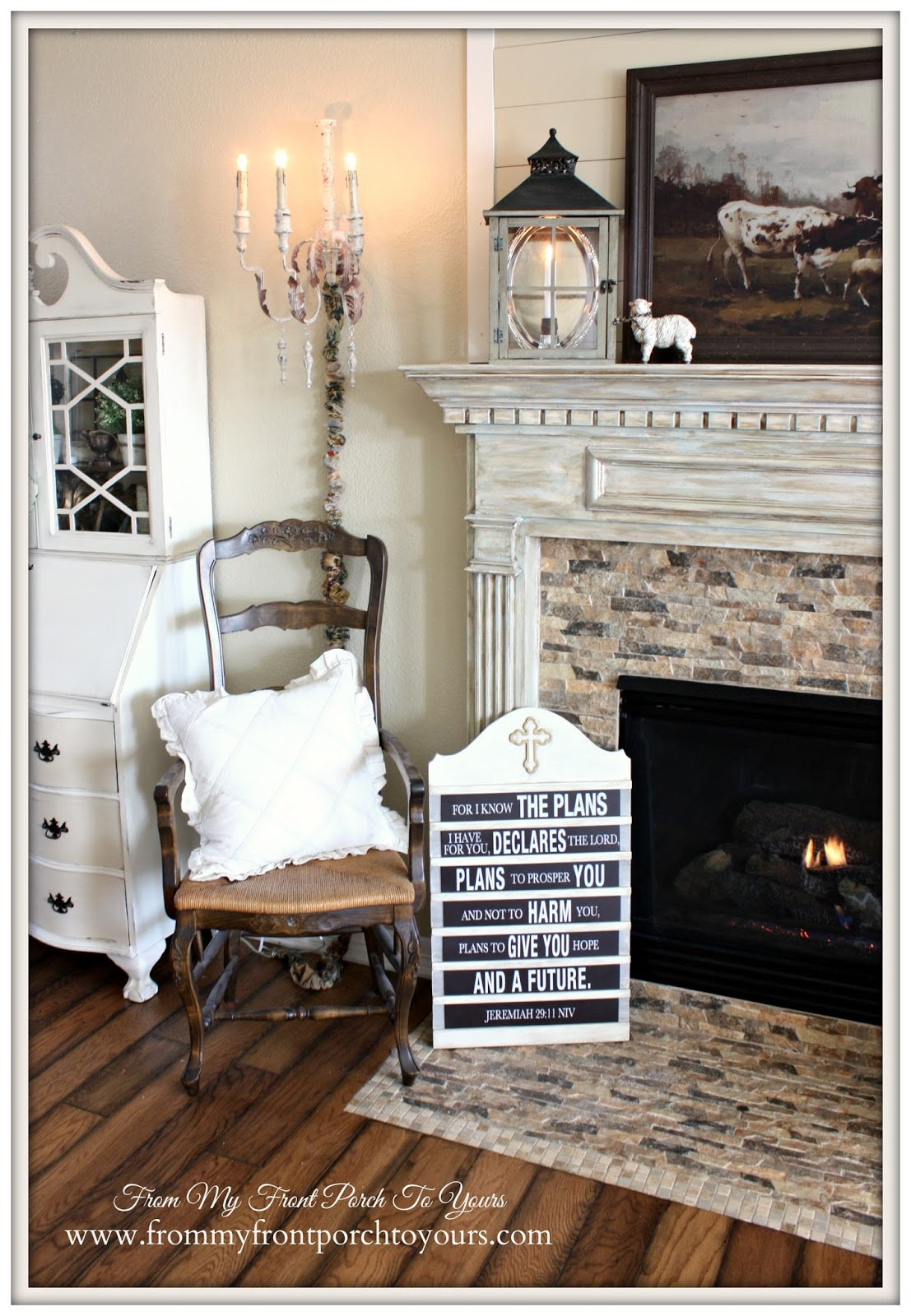 DIY Hymnal Board-French Country Mantel Vignette- From My Front Porch To Yours