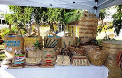 Hand crafted straw bags on table