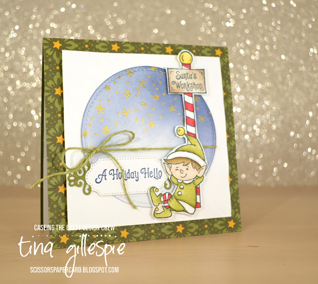 scissorspapercard, Stampin' Up!, CASEing The Catty, # Elfie, Night Before Christmas DSP, Stampin' Blends, Ornate Frames Dies, Stitched Shapes Dies