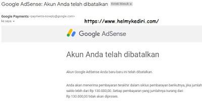 akun google adsense telah dibatalkan