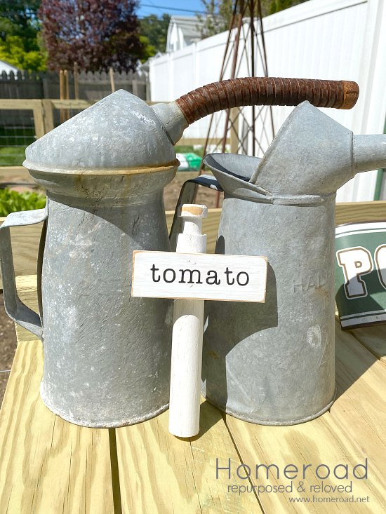 Tomato vegetable marker for the garden
