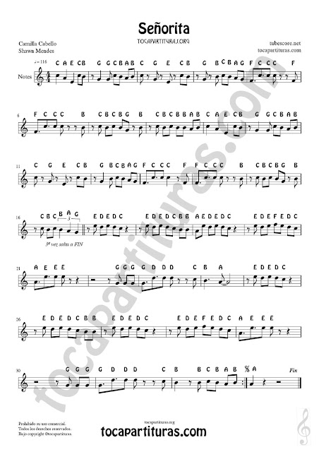 Easy English Notes Sheet Music Señorita for Treble Clef Instruments (Violins, flute, recorder, trumpet, clarinet, saxophone, horn, harmonica...