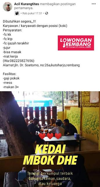 Lowongan Kerja Karyawati Kedai Mbok Dhe Rembang
