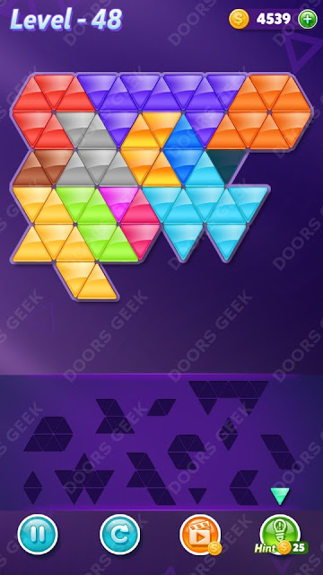Block! Triangle Puzzle Champion Level 48 Solution, Cheats, Walkthrough for Android, iPhone, iPad and iPod