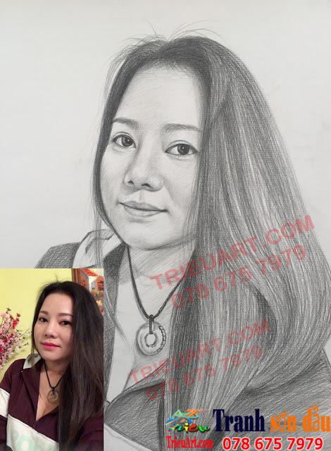 vẽ chân dung chì tặng người yêu