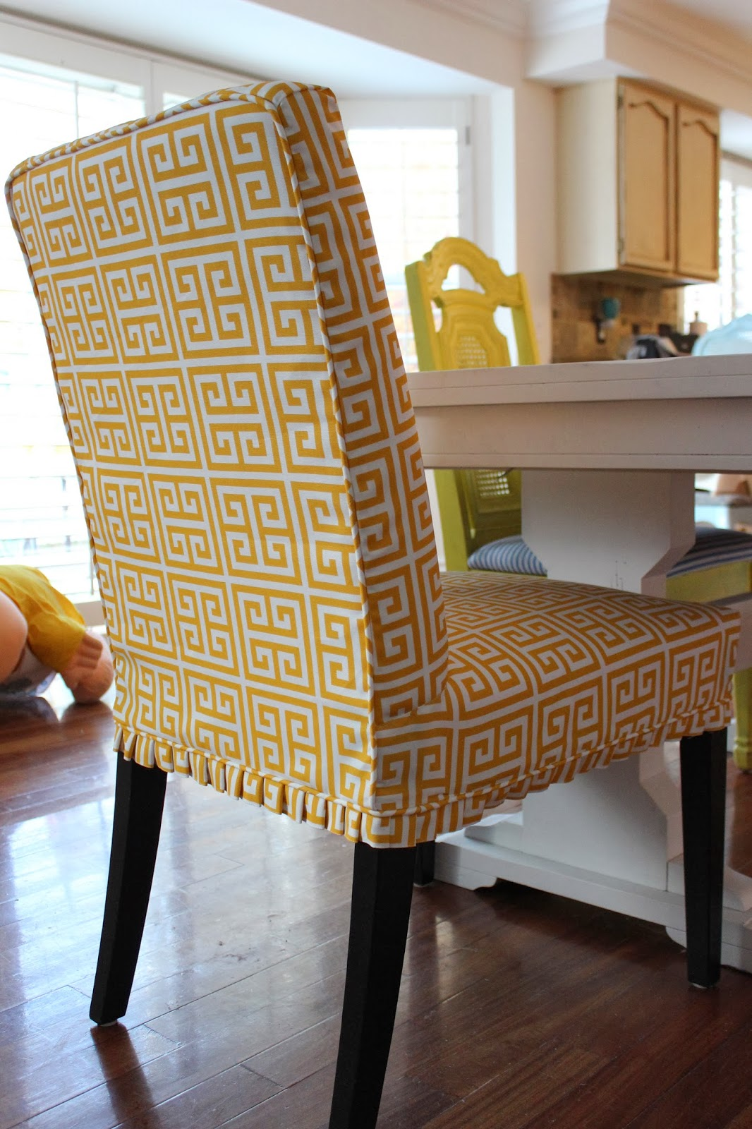 yellow parsons chair used aeron size c custom slipcovers by shelley greek key parson chairs