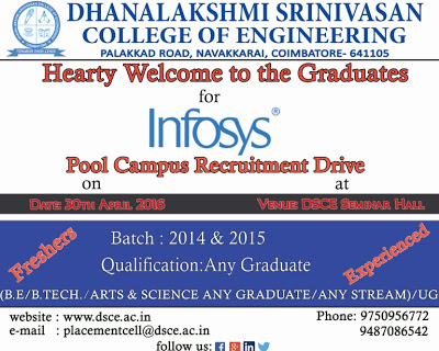 Infosys Off Campus 2016 at Dhanalakshmi Srinivasan College of Engineering, Coimbatore On 30th April 2016