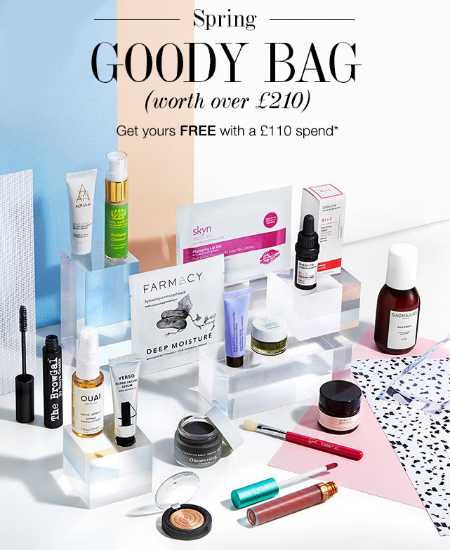 The contents of the Cult Beauty Spring Goody Bag 2017.