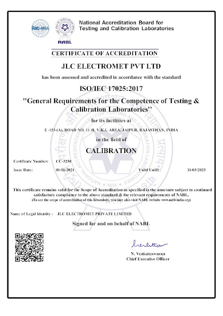 ISO 17025:2017 certified testing center recognized by the National Accreditation Board for Testing & Calibration Laboratories (NABL)