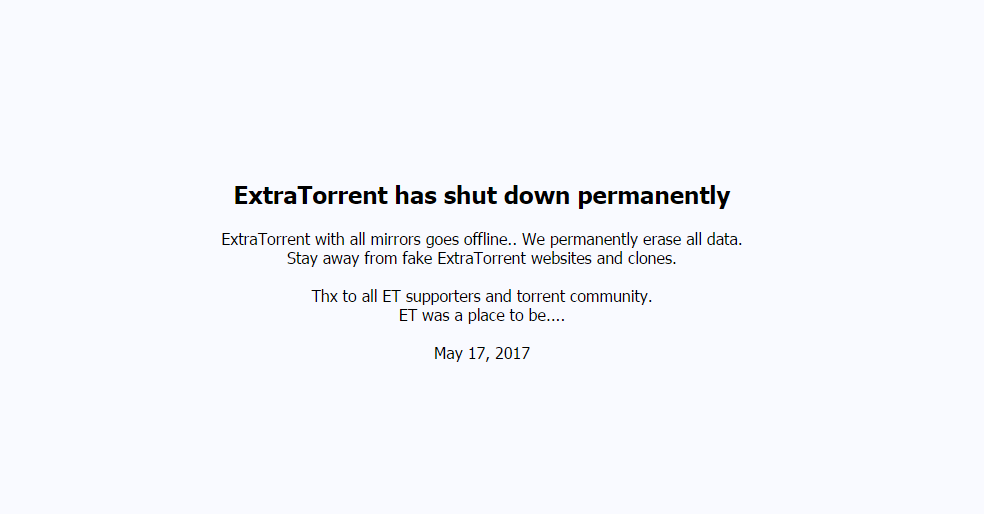ExtraTorrent shuts down permanently | Top Alternatives