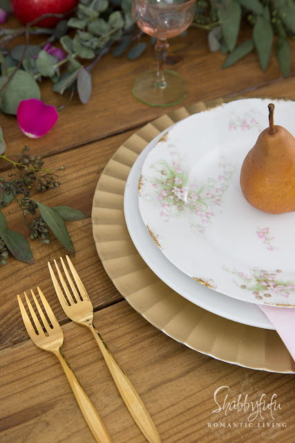 rustic table with elegant tablescape setting