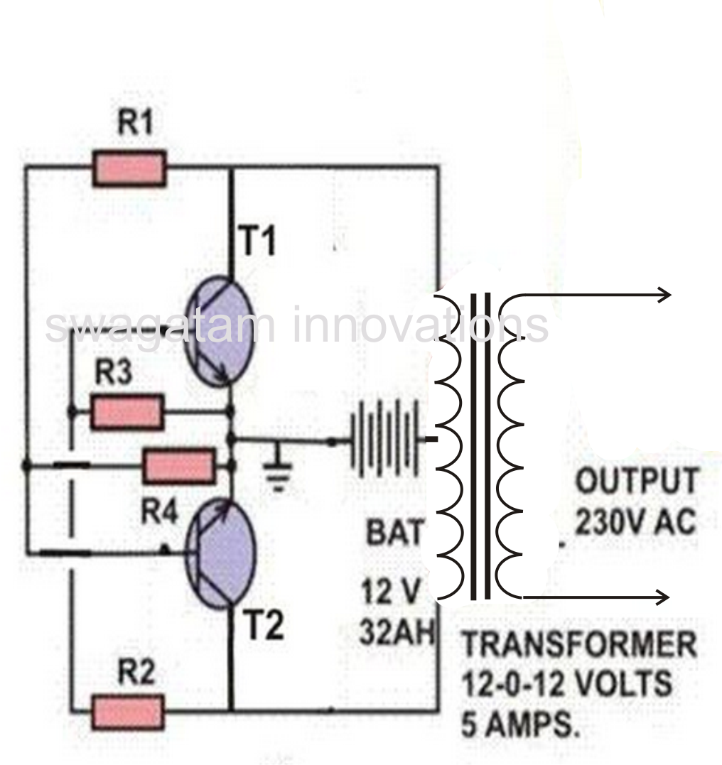 7 Simple Inverter Circuits You Can Build At Home Ups Circuit Diagram 100w Cross Coupled