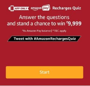 (All Answers)Amazon Recharges Quiz-Win Rs.9999 amazon Pay balance