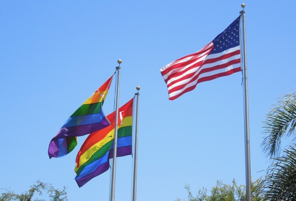 Rainbow Pride US flags