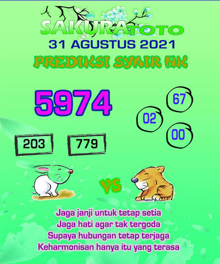 Syair HK Selasa 31 Agustus 2021 -
