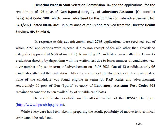 HPSSC Hamirpur Laboratory Assistant  Post Code: 908 Final Result 2021