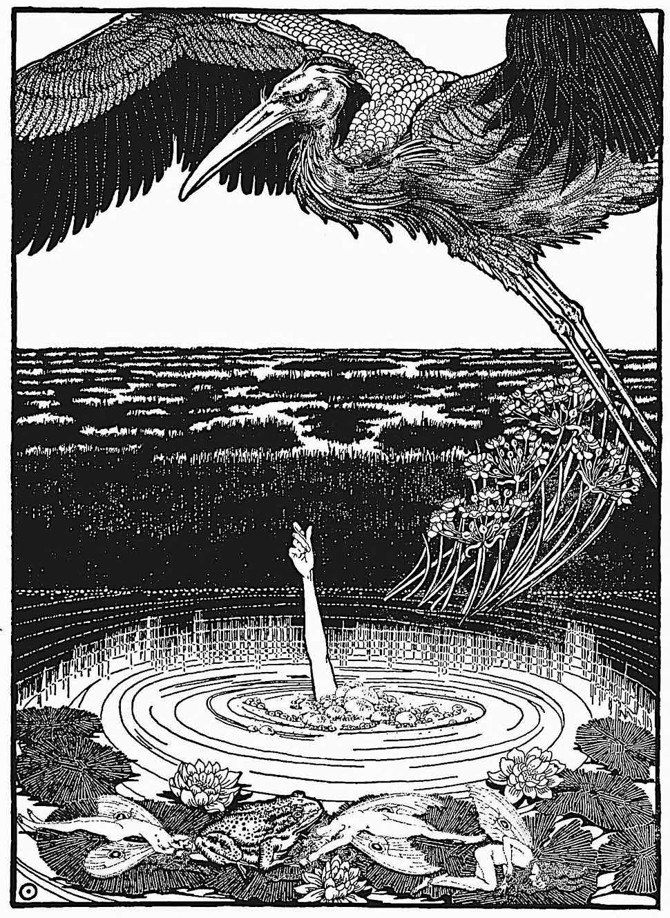 a Dugald Stewart Walker 1914 illustration of someone drowning in a marsh wetland