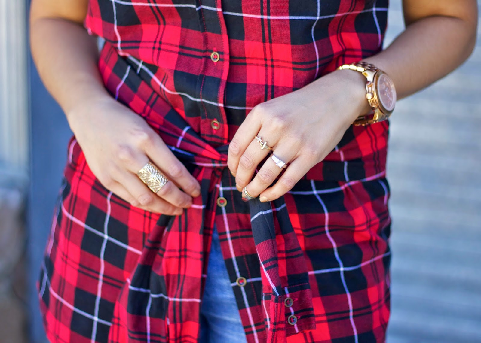 Michael Kors Large Runway watch, gold rings in fashion, fashionable arm candy, arm candy 2014, arm party 2014, arm party for plaid, the who's who of San Diego,