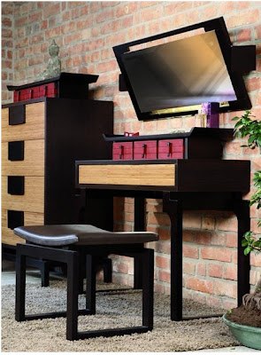 Dressing table  and Large wall mirror Kokeshi for modern bedroom furniture sets