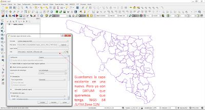 DATUM en QGIS cambiar el Sistema de coordenadas