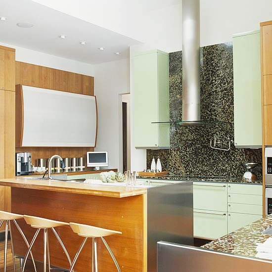 Modern Furniture: Green Kitchen Design New Ideas 2012