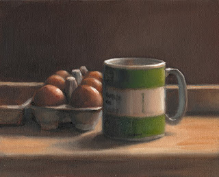 Still life oil painting of a coffee mug beside a carton of eggs.