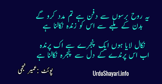 Yeh Rooh Barso Se Dafan Hay Beautiful 2 lines poetry by Umair najmi - shayari in urdu with images