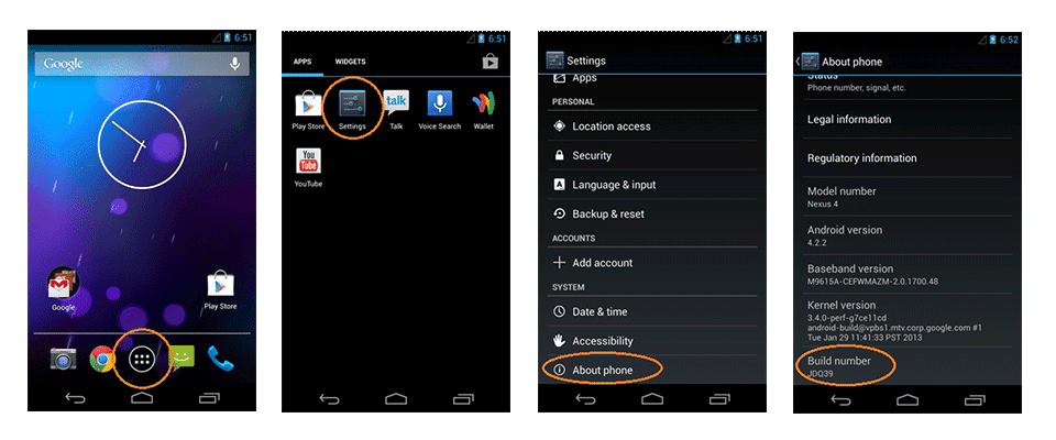 USB Debugging Option -Android 4.0
