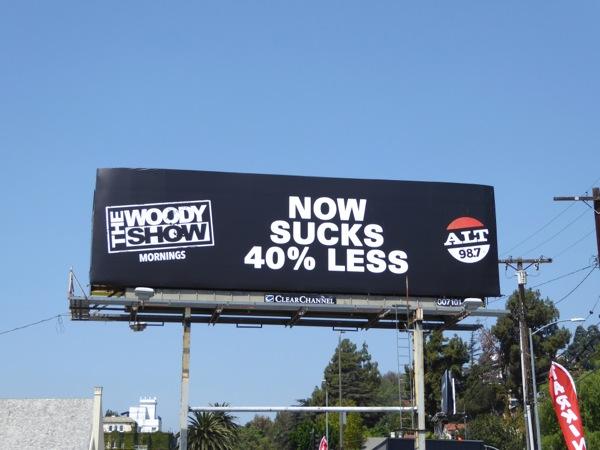 Woody Show Now sucks less radio billboard