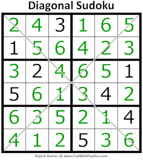 Diagonal Sudoku (Sudoku for Kids #1) Answer