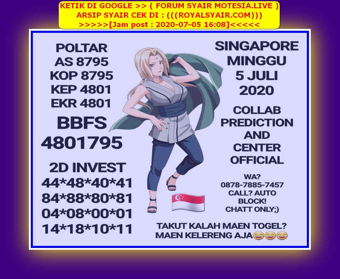 Kode syair Singapore Minggu 5 Juli 2020 27