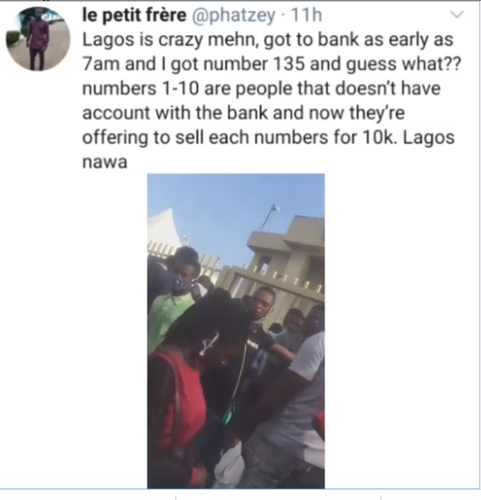 People are now standing in Bank queues and exchanging their spot for N10K - Nigerian man raises alarm (Video)