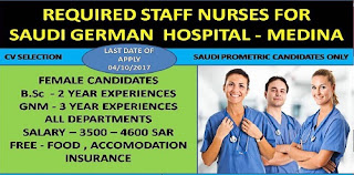 REQUIRED STAFF NURSES FOR SAUDI GERMAN HOSPITAL -MEDINA