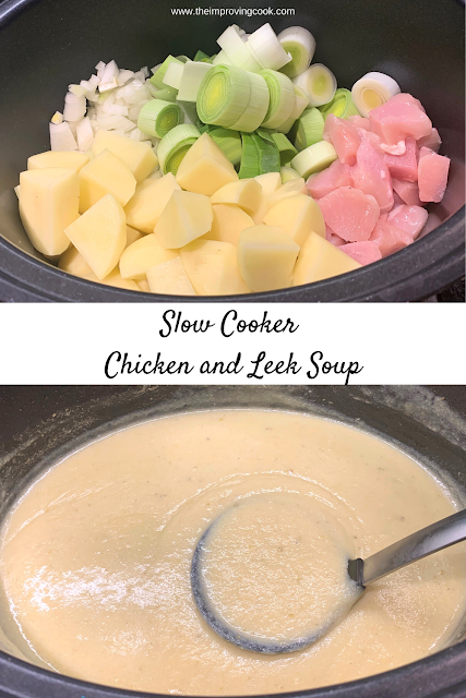 2 images Chicken and Leek Soup before and after cooking