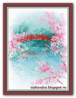 Cross-stitch Riolis 1745 «Sakura. Bridge»