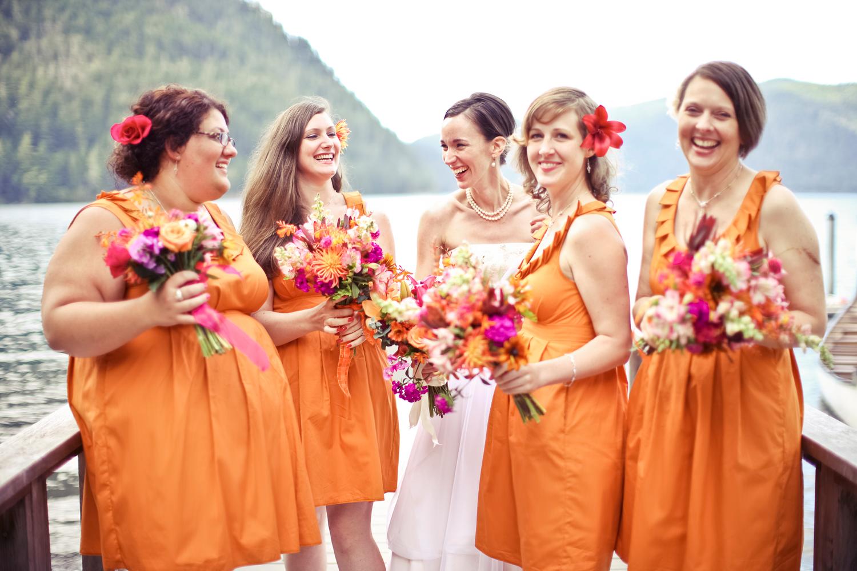 Orange Gown Wedding: Independent Designer: Real Wedding: Bridesmaids In Monarch