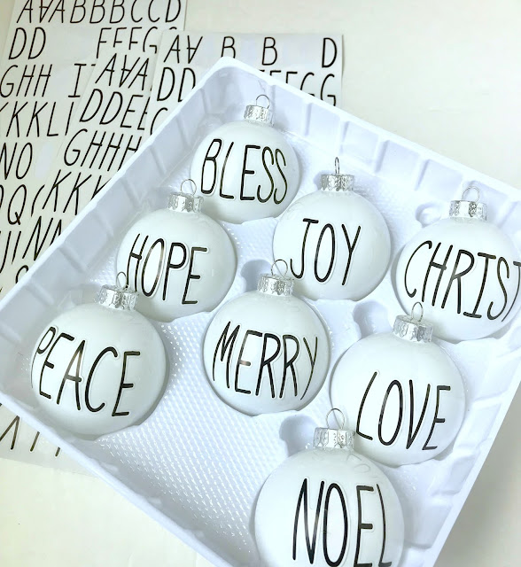 Quick letter ornaments with stickers.