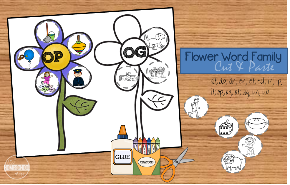 Free flower word family cut amp paste download flower word family worksheets ibookread Read Online