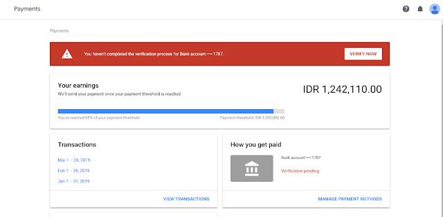 Mengatur pembayaran google adsense ke OVO