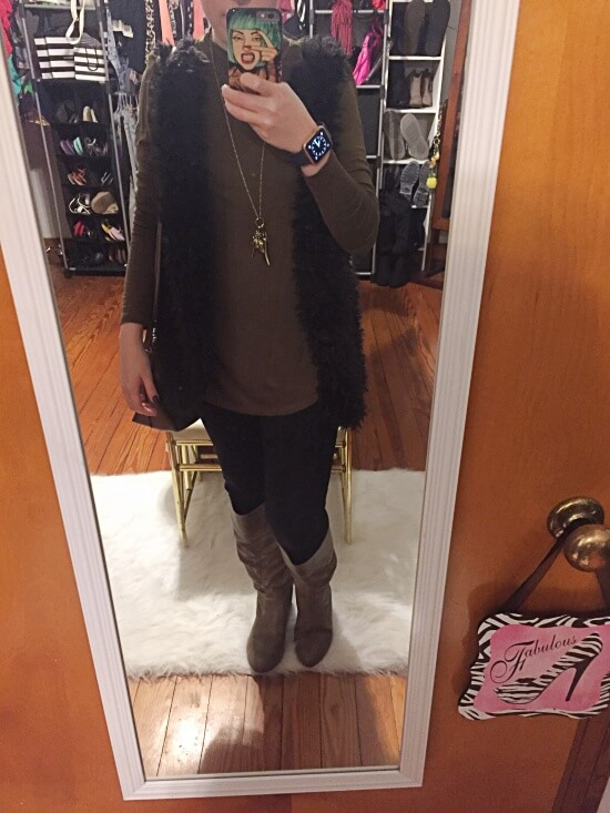 olive shirt with black sherpa vest outfit of the day
