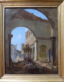 A painting at the National Gallery of Modern Art  in Rome shows the Basilica after the fire