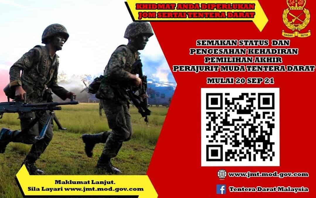 Semakan Status Pemilihan Akhir Perajurit Muda Tentera Darat 2021 Online