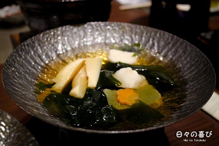 focus soupe algues pousses de bambou