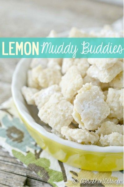 Lemon is such a lively flavor that is perfect to usher in spring. It's sweet/sour and full of zest! That is why I love these Lemon Muddy Buddies this time of year.  Plus they are so easy to make, the kids love to help!