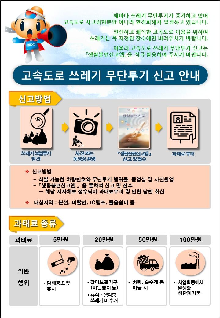 한국도로공사, '고속도로 쓰레기 무단투기' 상시·집중단속