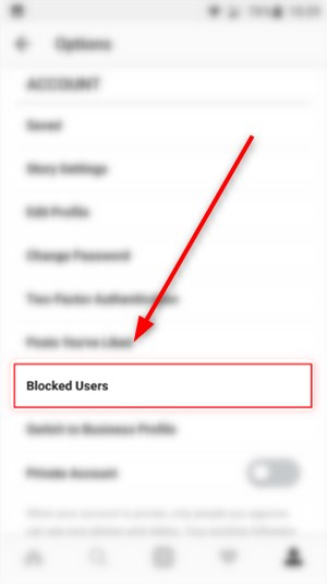 how to unblock from instagram - Blocked Users option